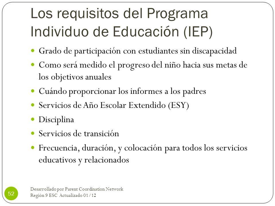 Los requisitos del Programa Individuo de Educación (IEP) Grado de participación con estudiantes sin discapacidad Como será medido el progreso del niño