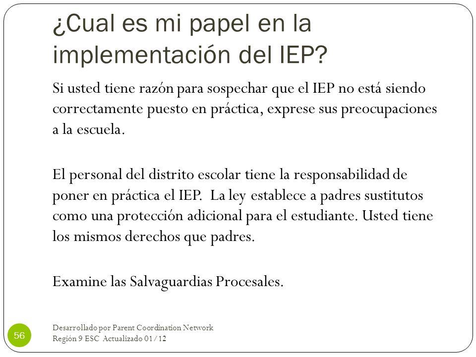 ¿Cual es mi papel en la implementación del IEP? Si usted tiene razón para sospechar que el IEP no está siendo correctamente puesto en práctica, expres