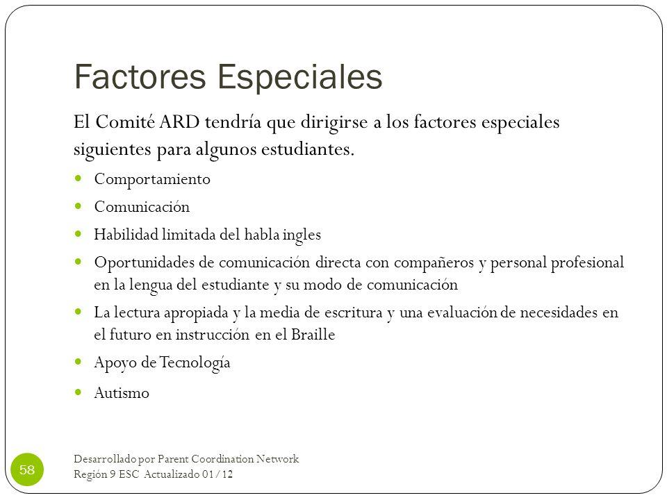 Factores Especiales El Comité ARD tendría que dirigirse a los factores especiales siguientes para algunos estudiantes. Comportamiento Comunicación Hab