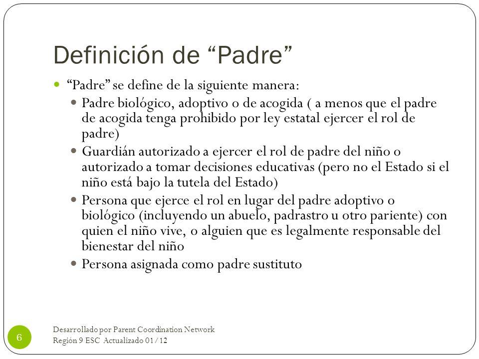 Definición de Padre Padre se define de la siguiente manera: Padre biológico, adoptivo o de acogida ( a menos que el padre de acogida tenga prohibido p