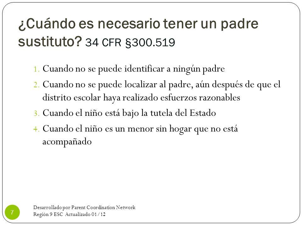 ¿Cuándo es necesario tener un padre sustituto? 34 CFR §300.519 1. Cuando no se puede identificar a ningún padre 2. Cuando no se puede localizar al pad