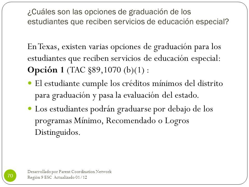 ¿Cuáles son las opciones de graduación de los estudiantes que reciben servicios de educación especial? En Texas, existen varias opciones de graduación