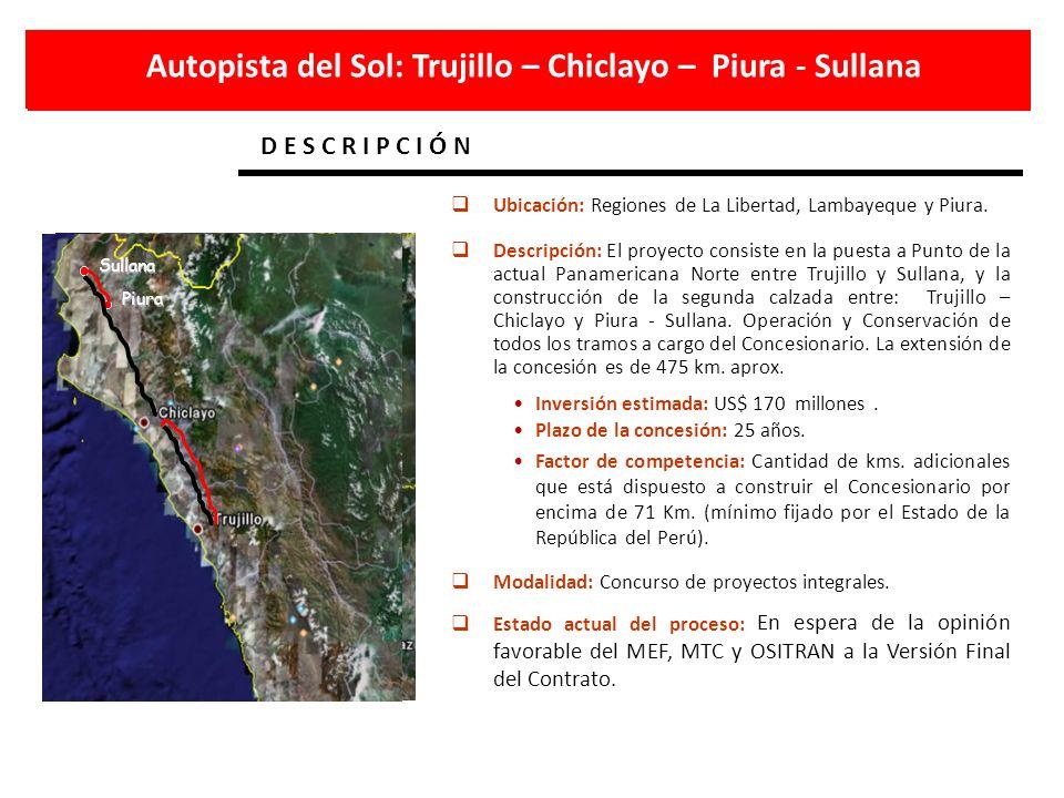 D E S C R I P C I Ó N Trujillo Sullana Sullana Piura Autopista del Sol: Trujillo – Chiclayo – Piura - Sullana Ubicación: Regiones de La Libertad, Lamb