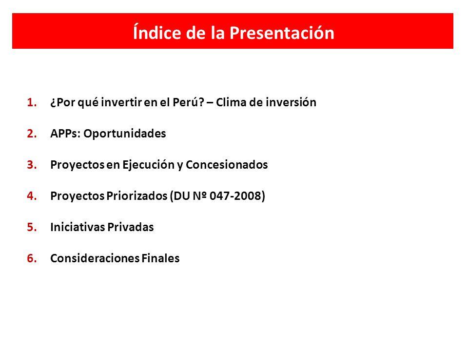 Índice de la Presentación 1.¿Por qué invertir en el Perú? – Clima de inversión 2.APPs: Oportunidades 3.Proyectos en Ejecución y Concesionados 4.Proyec