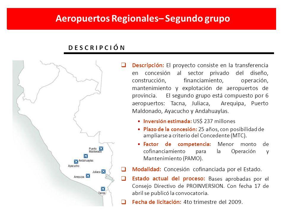 Aeropuertos Regionales– Segundo grupo D E S C R I P C I Ó N Descripción: El proyecto consiste en la transferencia en concesión al sector privado del d