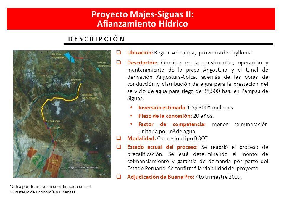 Proyecto Majes-Siguas II: Afianzamiento Hídrico D E S C R I P C I Ó N *Cifra por definirse en coordinación con el Ministerio de Economía y Finanzas. U