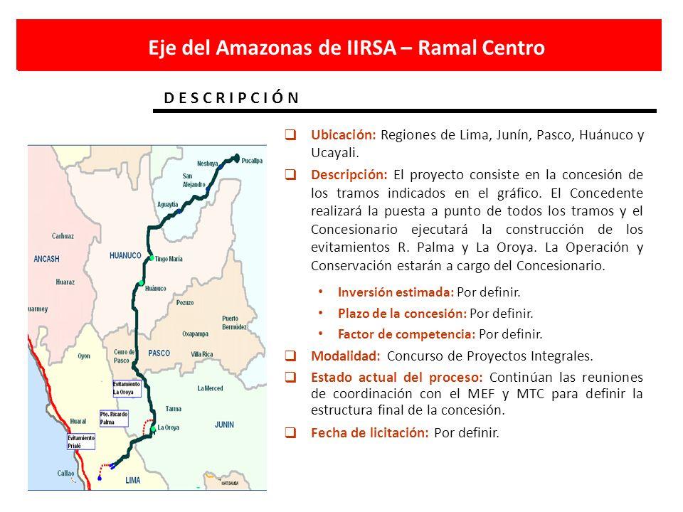 Eje del Amazonas de IIRSA – Ramal Centro D E S C R I P C I Ó N Ubicación: Regiones de Lima, Junín, Pasco, Huánuco y Ucayali. Descripción: El proyecto