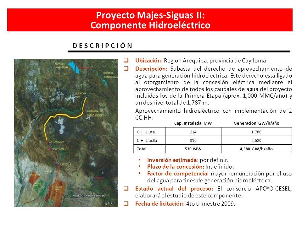 Proyecto Majes-Siguas II: Componente Hidroeléctrico D E S C R I P C I Ó N Ubicación: Región Arequipa, provincia de Caylloma Descripción: Subasta del d