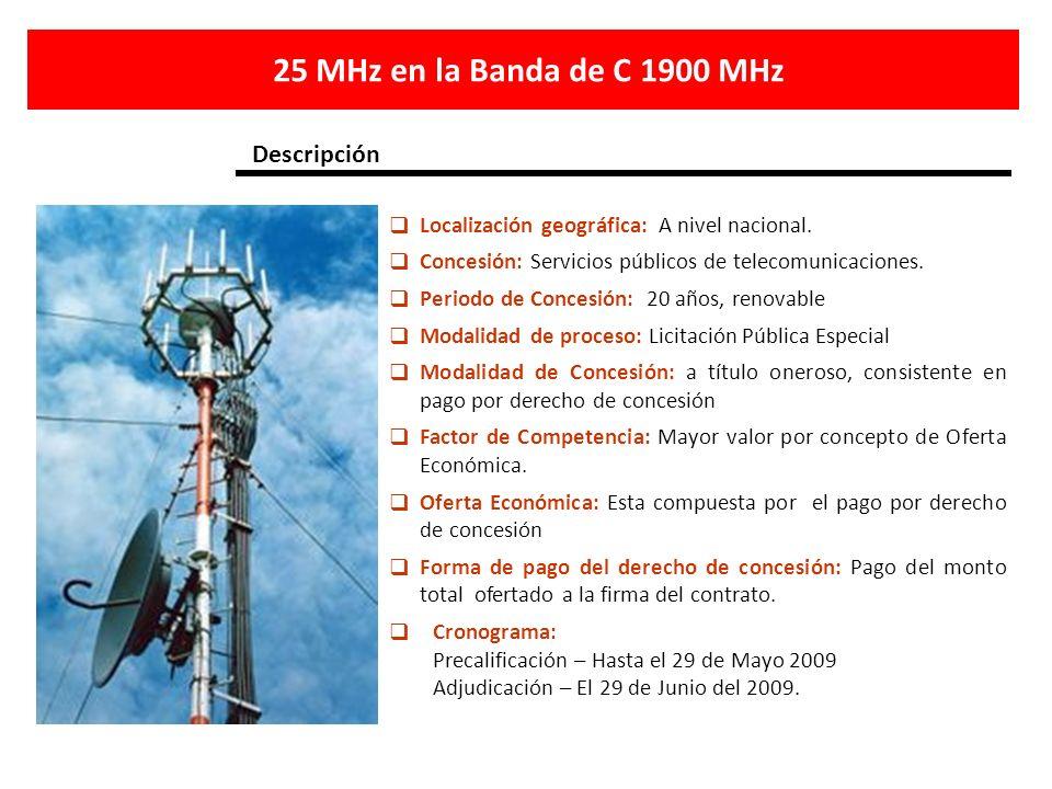 Localización geográfica: A nivel nacional. Concesión: Servicios públicos de telecomunicaciones. Periodo de Concesión: 20 años, renovable Modalidad de