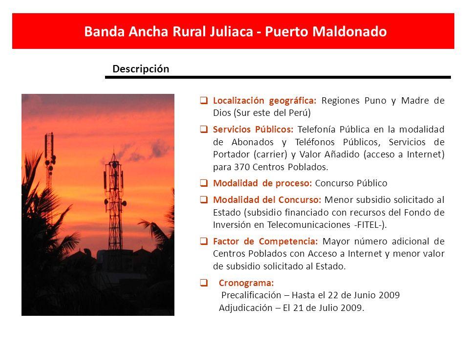 Localización geográfica: Regiones Puno y Madre de Dios (Sur este del Perú) Servicios Públicos: Telefonía Pública en la modalidad de Abonados y Teléfon