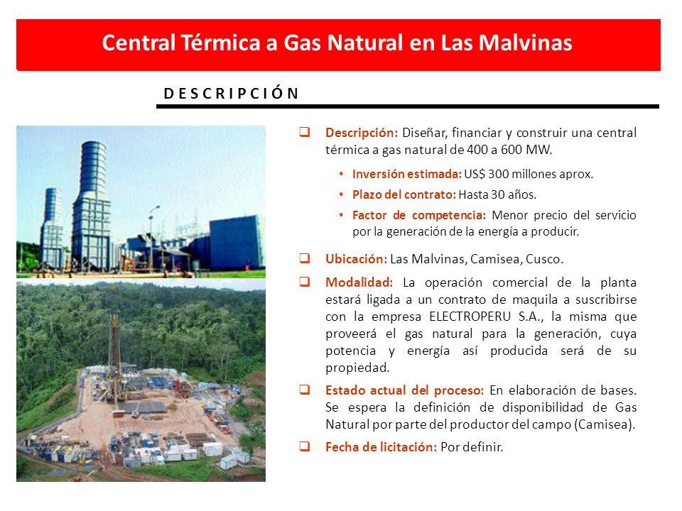 D E S C R I P C I Ó N Central Térmica a Gas Natural en Las Malvinas Descripción: Diseñar, financiar y construir una central térmica a gas natural de 4