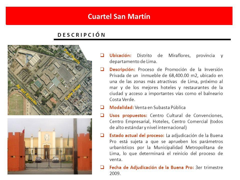 Cuartel San Martín D E S C R I P C I Ó N Av del Ejercito Paul Harris Calle Polar Ubicación: Distrito de Miraflores, provincia y departamento de Lima.