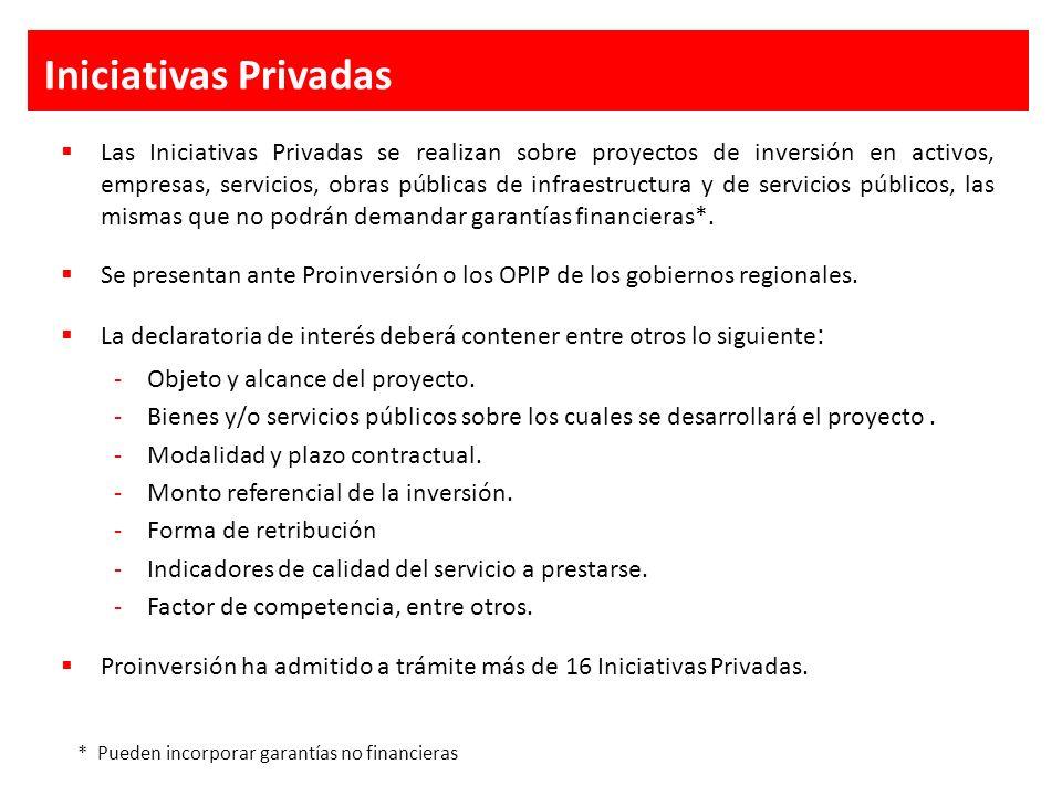 Iniciativas Privadas Las Iniciativas Privadas se realizan sobre proyectos de inversión en activos, empresas, servicios, obras públicas de infraestruct