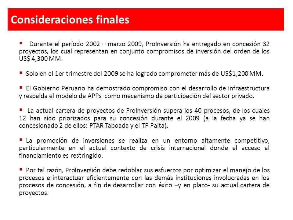 Consideraciones finales Durante el período 2002 – marzo 2009, ProInversión ha entregado en concesión 32 proyectos, los cual representan en conjunto co