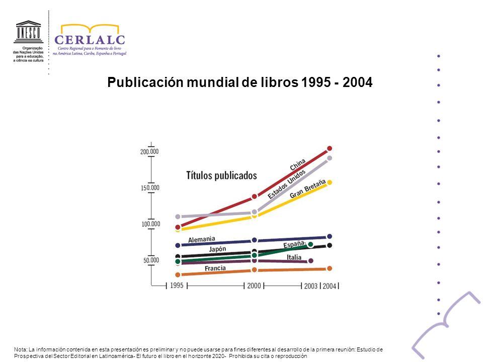 Publicación mundial de libros 1995 - 2004 Nota: La información contenida en esta presentación es preliminar y no puede usarse para fines diferentes al