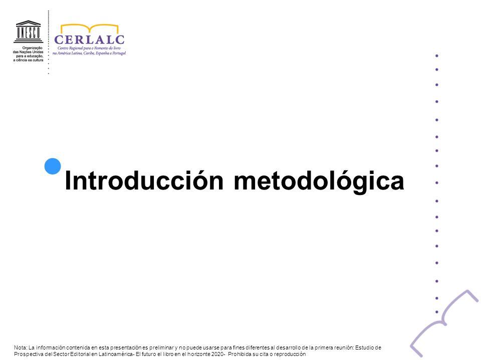 Introducción metodológica Nota: La información contenida en esta presentación es preliminar y no puede usarse para fines diferentes al desarrollo de l