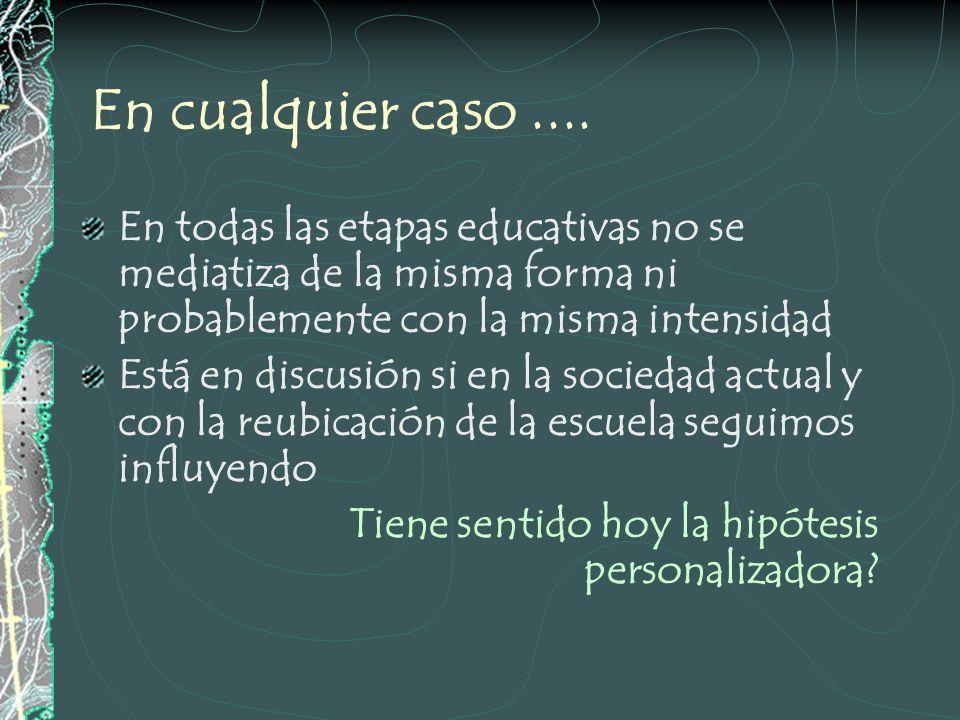 ¿Cuál es la base de esta relación? Se supone que nuestra relación con el alumno o alumna MEDIATIZA (influye, condiciona, determina, ???) Sus aprendiza
