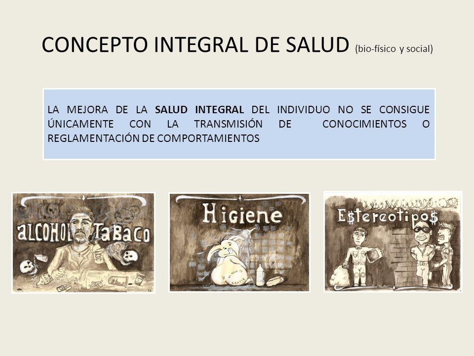 CONCEPTO INTEGRAL DE SALUD (bio-físico y social) LA MEJORA DE LA SALUD INTEGRAL DEL INDIVIDUO NO SE CONSIGUE ÚNICAMENTE CON LA TRANSMISIÓN DE CONOCIMI