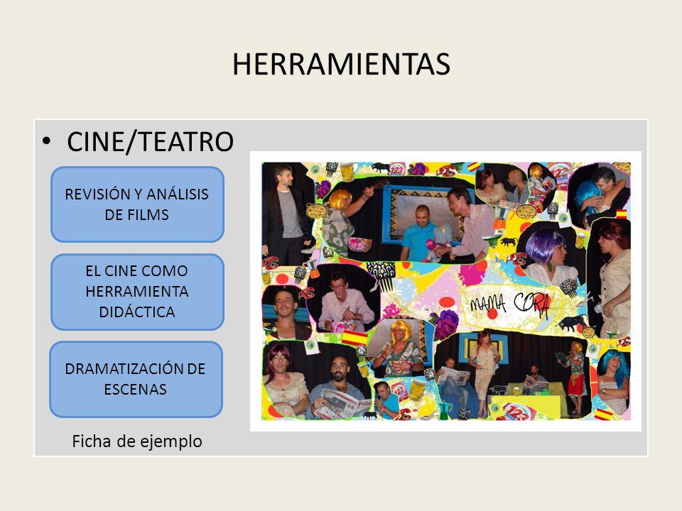 HERRAMIENTAS CINE/TEATRO Ficha de ejemplo REVISIÓN Y ANÁLISIS DE FILMS EL CINE COMO HERRAMIENTA DIDÁCTICA DRAMATIZACIÓN DE ESCENAS