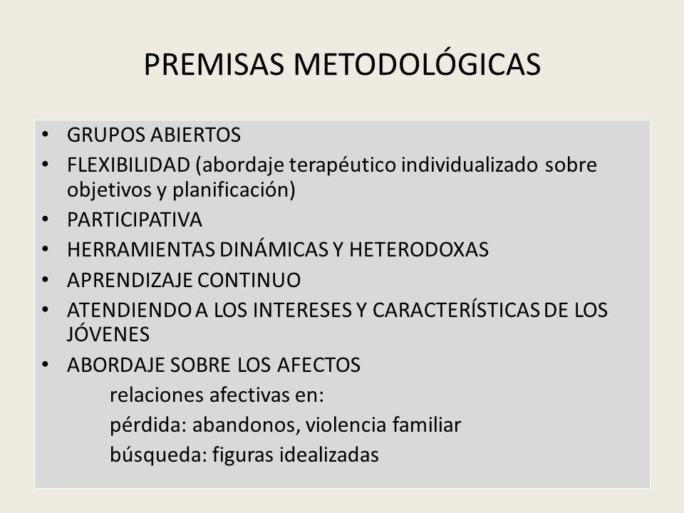 PREMISAS METODOLÓGICAS GRUPOS ABIERTOS FLEXIBILIDAD (abordaje terapéutico individualizado sobre objetivos y planificación) PARTICIPATIVA HERRAMIENTAS