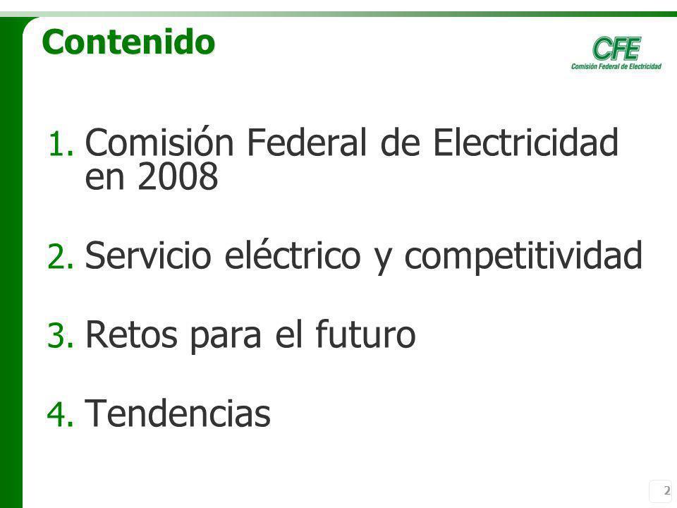 2 Contenido 1. Comisión Federal de Electricidad en 2008 2. Servicio eléctrico y competitividad 3. Retos para el futuro 4. Tendencias