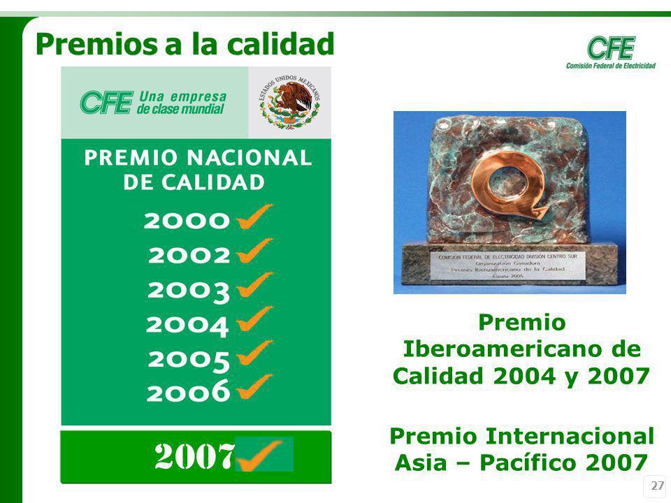 27 Premios a la calidad Premio Iberoamericano de Calidad 2004 y 2007 2007 Premio Internacional Asia – Pacífico 2007