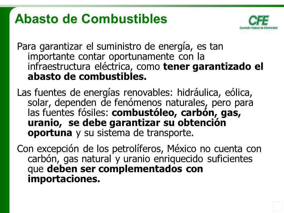 Abasto de Combustibles Para garantizar el suministro de energía, es tan importante contar oportunamente con la infraestructura eléctrica, como tener g