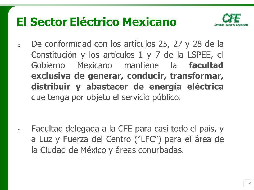 4 o De conformidad con los artículos 25, 27 y 28 de la Constitución y los artículos 1 y 7 de la LSPEE, el Gobierno Mexicano mantiene la facultad exclu