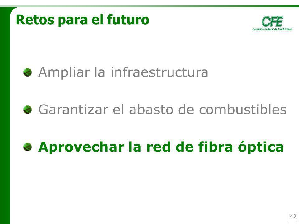 42 Retos para el futuro Ampliar la infraestructura Garantizar el abasto de combustibles Aprovechar la red de fibra óptica