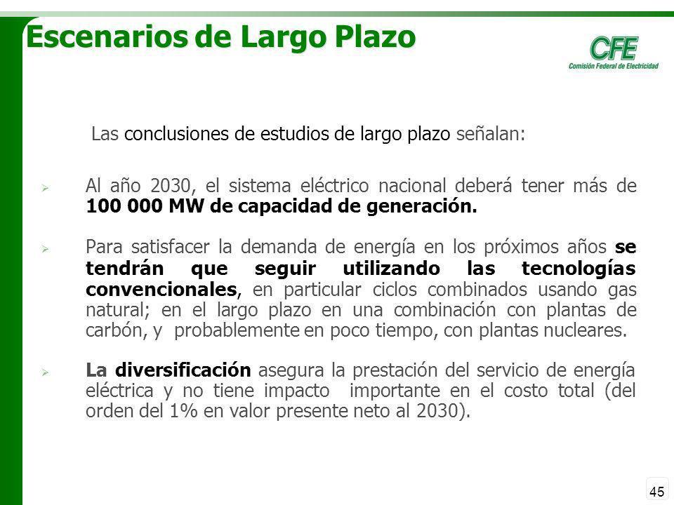 45 Escenarios de Largo Plazo Las conclusiones de estudios de largo plazo señalan: Al año 2030, el sistema eléctrico nacional deberá tener más de 100 0