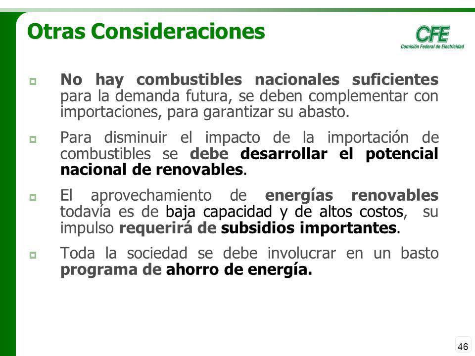 46 Otras Consideraciones No hay combustibles nacionales suficientes para la demanda futura, se deben complementar con importaciones, para garantizar s