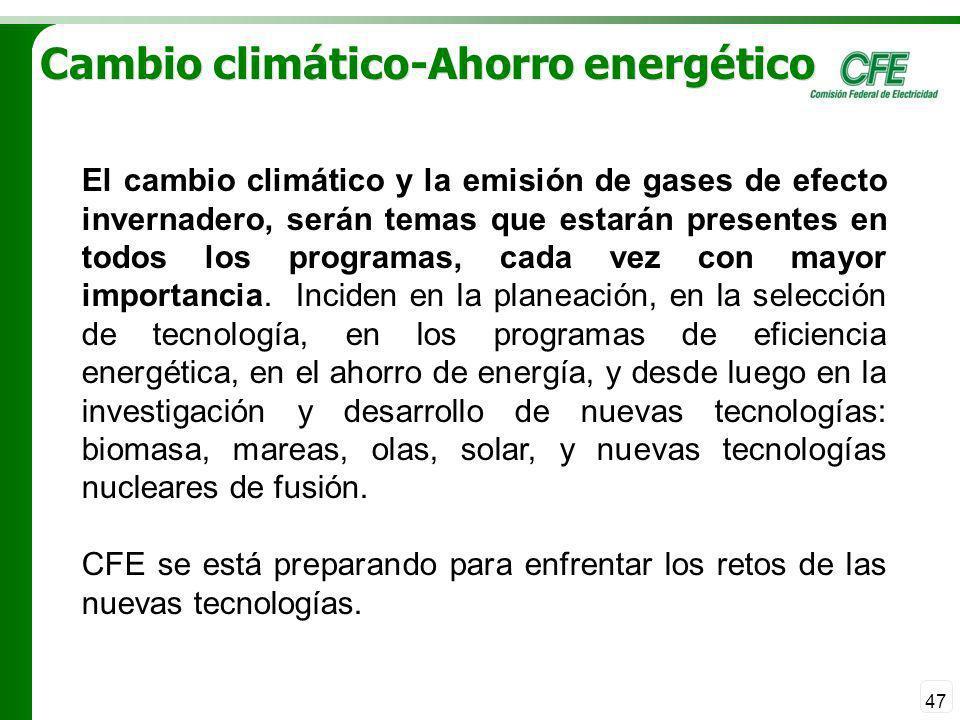 47 Cambio climático-Ahorro energético El cambio climático y la emisión de gases de efecto invernadero, serán temas que estarán presentes en todos los