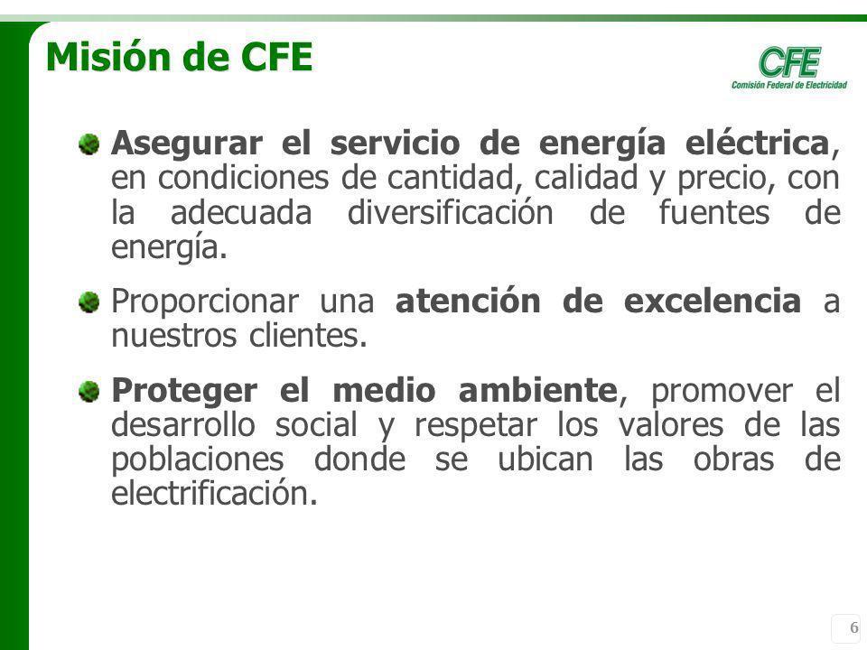 6 Misión de CFE Asegurar el servicio de energía eléctrica, en condiciones de cantidad, calidad y precio, con la adecuada diversificación de fuentes de