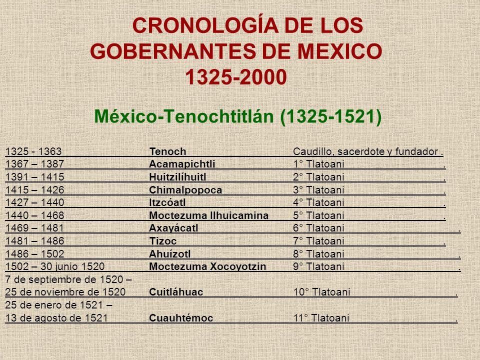 México-Tenochtitlán (1325-1521) CRONOLOGÍA DE LOS GOBERNANTES DE MEXICO 1325-2000 1325 - 1363Tenoch Caudillo, sacerdote y fundador. 1367 – 1387Acamapi