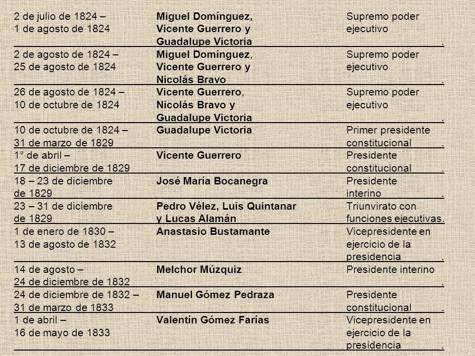 2 de julio de 1824 –Miguel Domínguez,Supremo poder 1 de agosto de 1824Vicente Guerrero yejecutivo Guadalupe Victoria. 2 de agosto de 1824 –Miguel Domí