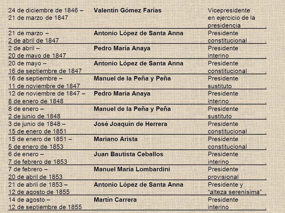 24 de diciembre de 1846 –Valentín Gómez FaríasVicepresidente 21 de marzo de 1847en ejercicio de la presidencia. 21 de marzo –Antonio López de Santa An
