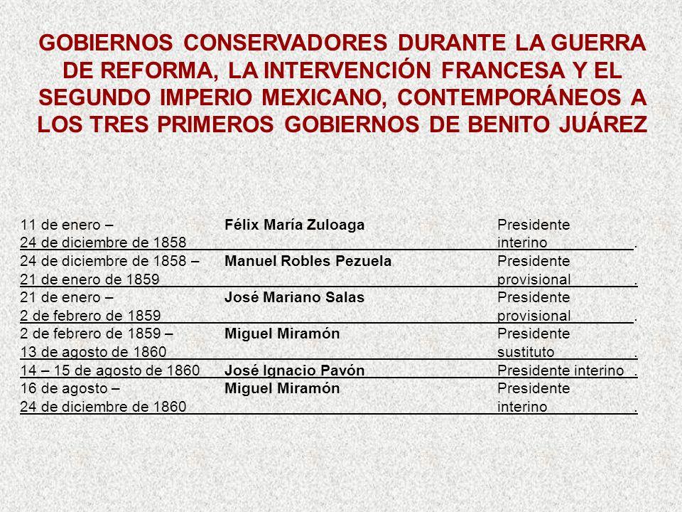 11 de enero –Félix María ZuloagaPresidente 24 de diciembre de 1858interino. 24 de diciembre de 1858 –Manuel Robles PezuelaPresidente 21 de enero de 18
