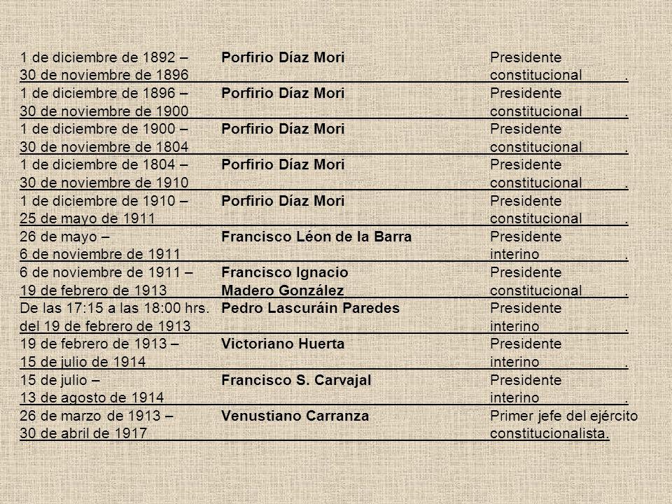 1 de diciembre de 1892 –Porfirio Díaz MoriPresidente 30 de noviembre de 1896constitucional. 1 de diciembre de 1896 –Porfirio Díaz MoriPresidente 30 de