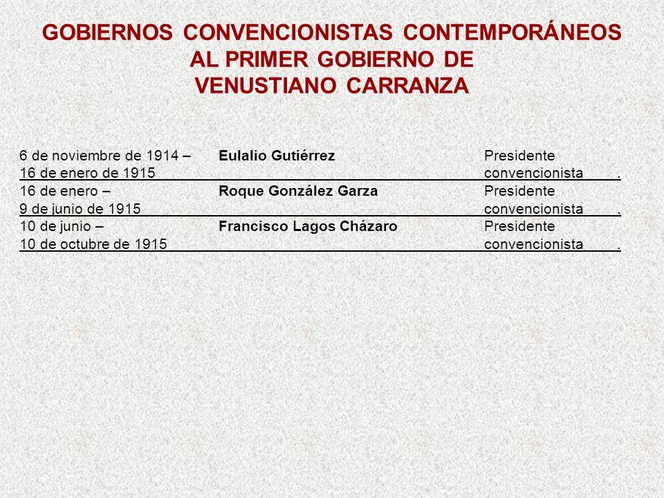 6 de noviembre de 1914 –Eulalio GutiérrezPresidente 16 de enero de 1915convencionista. 16 de enero –Roque González GarzaPresidente 9 de junio de 1915c