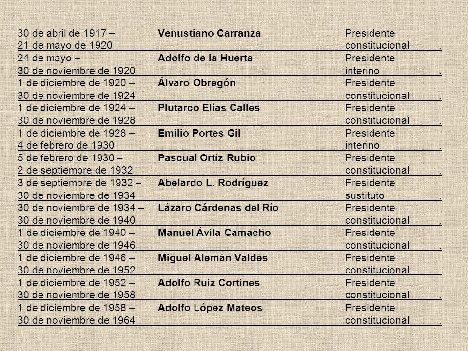 30 de abril de 1917 –Venustiano CarranzaPresidente 21 de mayo de 1920constitucional. 24 de mayo –Adolfo de la HuertaPresidente 30 de noviembre de 1920