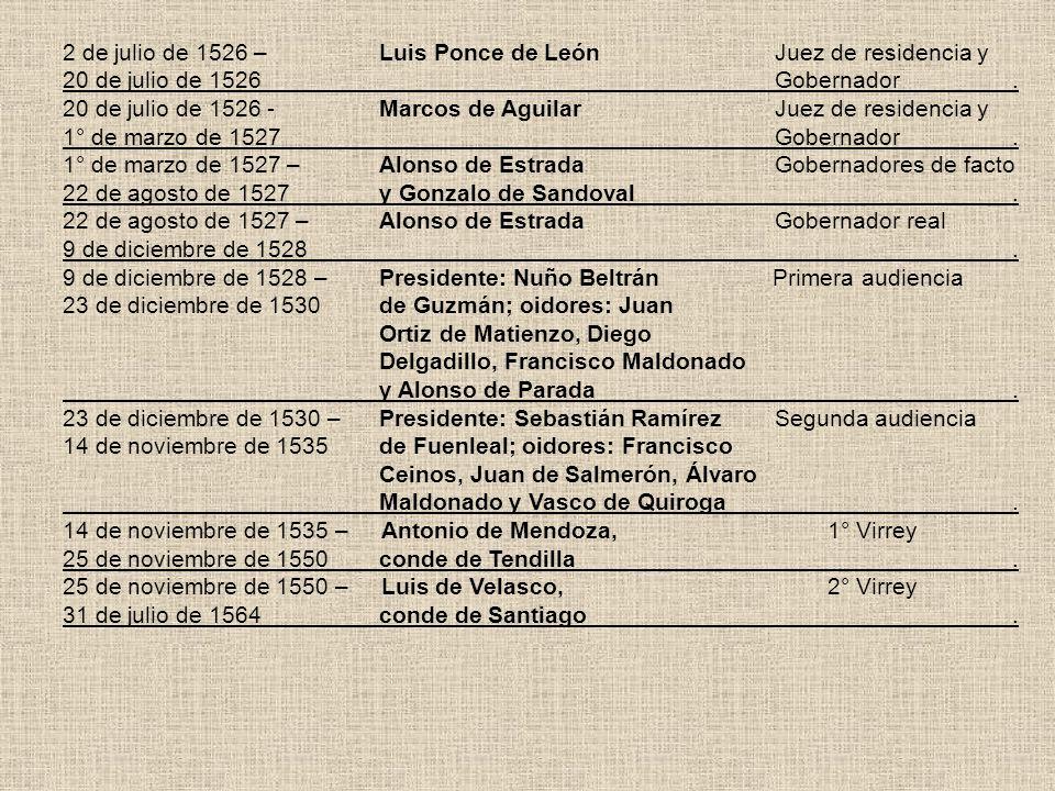 2 de julio de 1526 – Luis Ponce de León Juez de residencia y 20 de julio de 1526 Gobernador. 20 de julio de 1526 -Marcos de Aguilar Juez de residencia