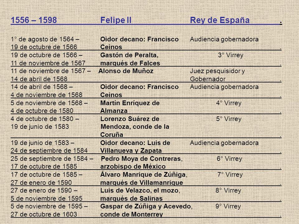 1556 – 1598Felipe IIRey de España. 1° de agosto de 1564 – Oidor decano: FranciscoAudiencia gobernadora 19 de octubre de 1566Ceinos. 19 de octubre de 1