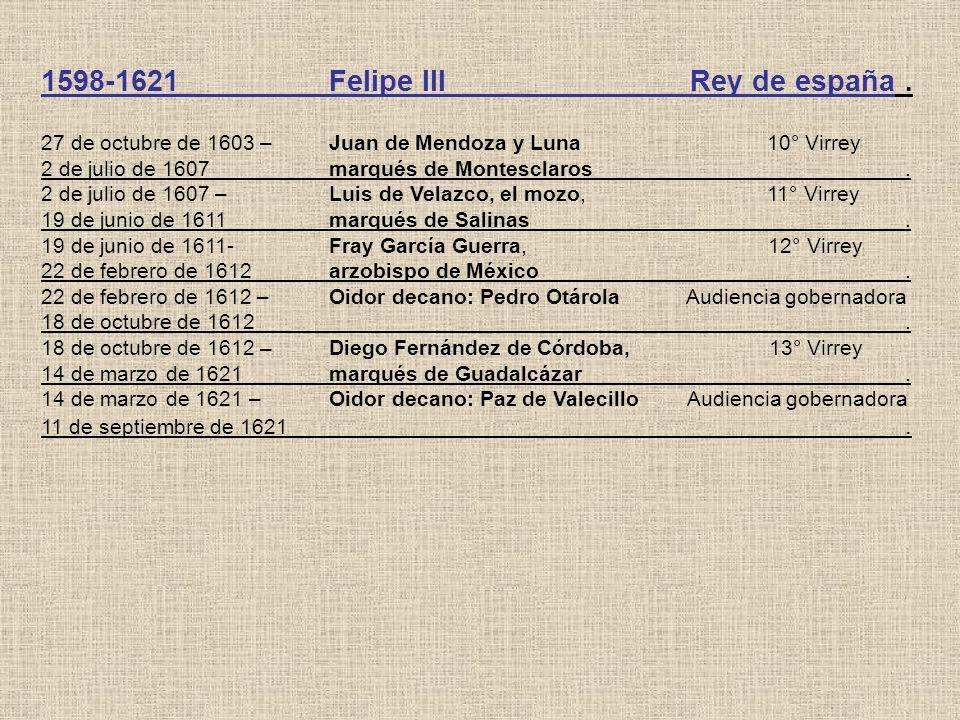 1598-1621Felipe III Rey de españa. 27 de octubre de 1603 – Juan de Mendoza y Luna 10° Virrey 2 de julio de 1607marqués de Montesclaros. 2 de julio de
