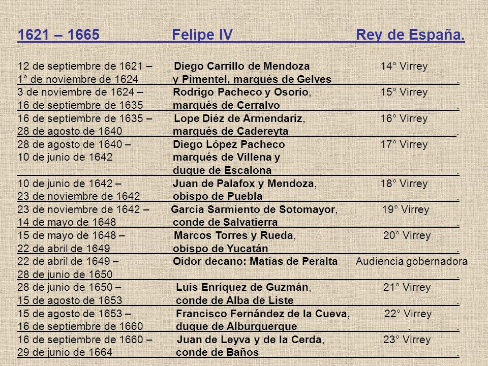 1621 – 1665 Felipe IV Rey de España. 12 de septiembre de 1621 – Diego Carrillo de Mendoza 14° Virrey 1° de noviembre de 1624 y Pimentel, marqués de Ge