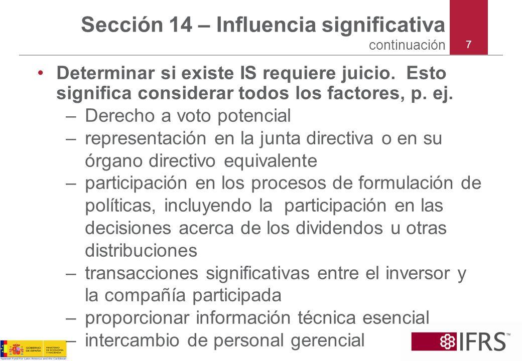28 La NIIF para las PYMES Sección 15 Inversiones en Empresas Conjuntas (activos controlados conjuntamente y las operaciones controladas conjuntamente)