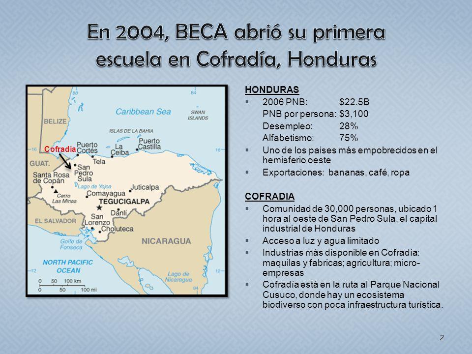 HONDURAS 2006 PNB: $22.5B PNB por persona:$3,100 Desempleo:28% Alfabetismo:75% Uno de los paises más empobrecidos en el hemisferio oeste Exportaciones
