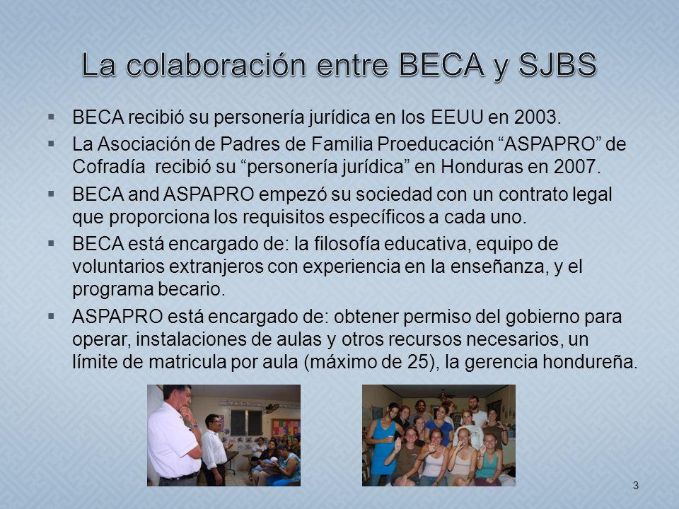 BECA recibió su personería jurídica en los EEUU en 2003. La Asociación de Padres de Familia Proeducación ASPAPRO de Cofradía recibió su personería jur
