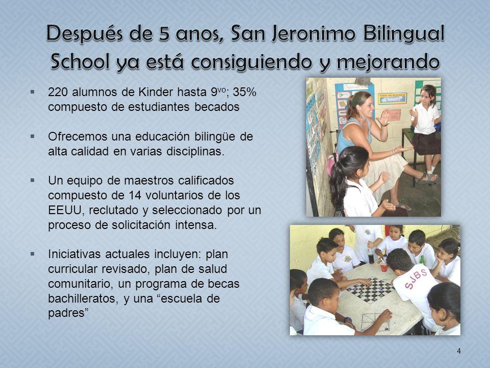220 alumnos de Kinder hasta 9 vo ; 35% compuesto de estudiantes becados Ofrecemos una educación bilingüe de alta calidad en varias disciplinas. Un equ