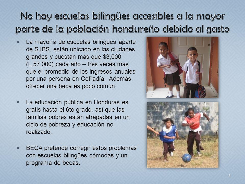 La mayoría de escuelas bilingües aparte de SJBS, están ubicado en las ciudades grandes y cuestan más que $3,000 (L.57,000) cada año – tres veces más q