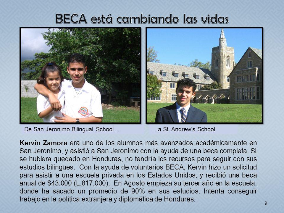 9 Kervin Zamora era uno de los alumnos más avanzados académicamente en San Jeronimo, y asistió a San Jeronimo con la ayuda de una beca completa. Si se